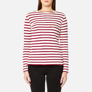 Maison Labiche Women's Crazy in Love Long Sleeve T-Shirt - White/Burgundy