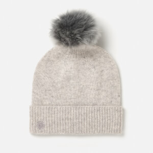 UGG Australia Women's Luxe Cuff Hat with Oversized Toscana Pom - Light Grey Heather