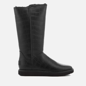 UGG Women's Abree II Classic Luxe Croc Leather Tall Boots - Black