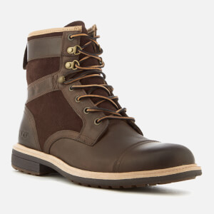 UGG Men's Magnusson Grain Leather Lace Up Boots - Grizzly: Image 2