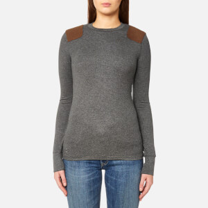 Polo Ralph Lauren Women's Long Sleeve Crew Neck Top with Suede Trim - Grey