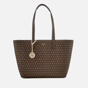 DKNY Women's Coated Logo Medium Tote Bag - Brown Logo