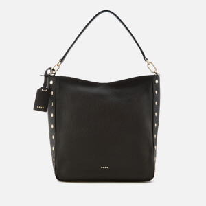 DKNY Women's Chelsea Pebbled Leather Top Zip Hobo Bag - Black