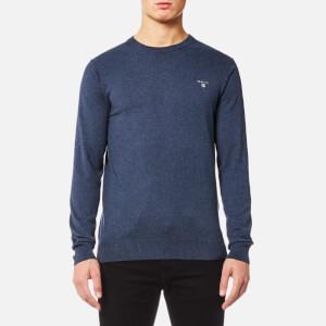GANT Men's Cotton Wool Mix Crew Knitted Jumper - Dark Jeans Blue Melange