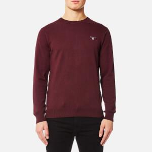 GANT Men's Cotton Wool Mix Crew Knitted Jumper - Dark Burgundy Melange