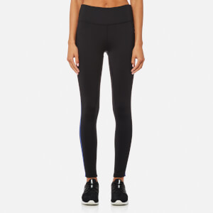 DKNY Sport Women's Hi Waist 7/8 Logo Tights with Reflective Tape - Lapis Reflective