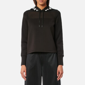 DKNY Sport Women's Mesh Yoke Cropped Logo Hoody - Black