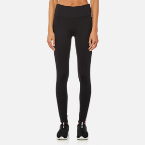 DKNY Sport Women's Hi Waist 7/8 Logo Tights with Reflective Tape - Whisper Reflective