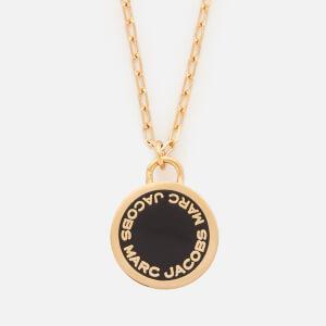 Marc Jacobs Women's Enamel Logo Disc Pendant - Black/Oro