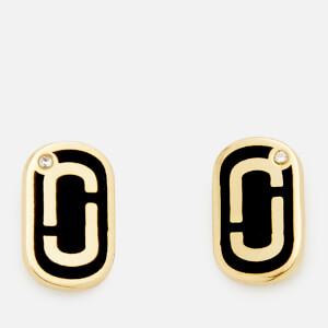 Marc Jacobs Women's Icon Enamel Studs - Black/Gold