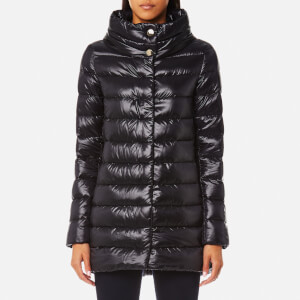 Herno Women's High Shine Woven Down Coat - Black