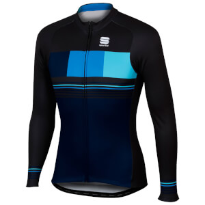 Sportful Stripe Thermal Jersey - Black Iris/Black