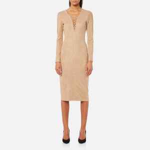 T by Alexander Wang Women's Stretch Faux Suede Lace Up Midi Dress - Camel