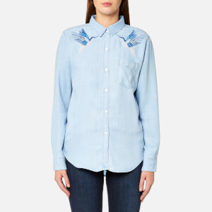 Rails Women's Ingrid Hummingbirds Embroidery Shirt - Blue