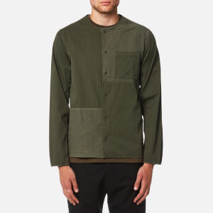 Folk Men's Combination Pop Stud Shirt - Field Green