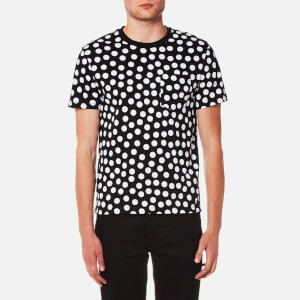 AMI Men's Dots Print Crew Neck T-Shirt - Black/White