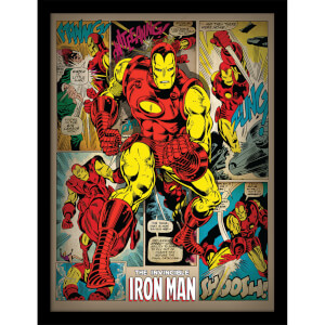 Marvel Iron Man Retro Framed 30 x 40cm Print