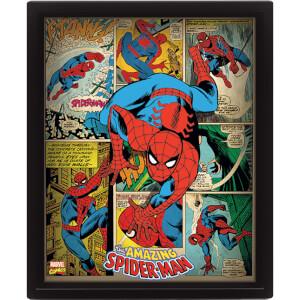 Marvel Retro Spider-Man 10 x 8 Inch 3D Lenticular Poster