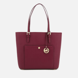 MICHAEL MICHAEL KORS Women's Jet Set Large Top Zip Pocket Tote Bag - Mulberry