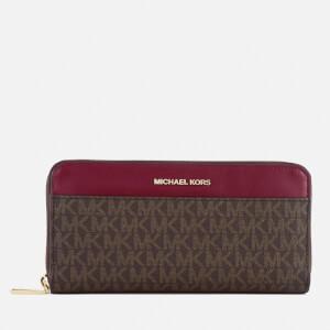 MICHAEL MICHAEL KORS Women's Pocket Zip Around Continental Wallet - Brown/Mulberry