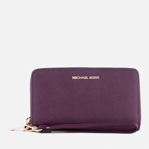 MICHAEL MICHAEL KORS Women's Large Flat Leather Wristlet Phone Case - Damson