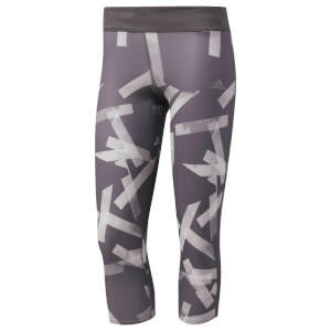adidas Women's Response 3/4 Running Tights - Grey/White
