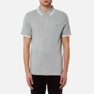 Michael Kors Men's Greenwich Logo Jacquard Short Sleeve Polo Shirt - Heather Grey