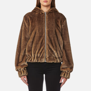 Helmut Lang Women's Hooded Mink Bomber Jacket - Honey/Chestnut
