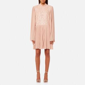 Perseverance London Women's 3D Floral Applique Pleat Mini Dress - Dusty Pink
