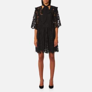 Perseverance London Women's Floral Cut Out Lace Tie Neck Mini Dress - Black