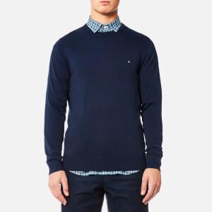 Tommy Hilfiger Men's Plaited Cotton Silk Crew Neck Knitted Jumper - Maritime Blue Heather