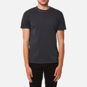 Officine Générale Men's Piping Neck Pigment Dye T-Shirt - Faded Black
