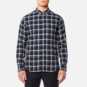 Officine Générale Men's Lipp Japanese Plaid Twill Shirt - Ecru Navy
