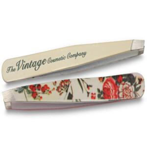 Vintage Cosmetics Floral Slanted Tweezers