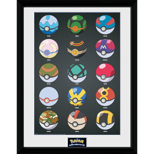 Pokémon Pokéballs - 16 x 12 Inches Framed Photograph