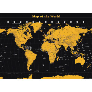 World Map Gold World Map - 100 x 140cm Giant Poster