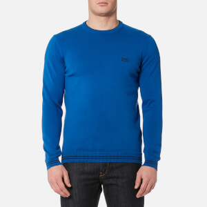 BOSS Green Men's Rime Crew Neck Knitted Jumper - Bright Blue