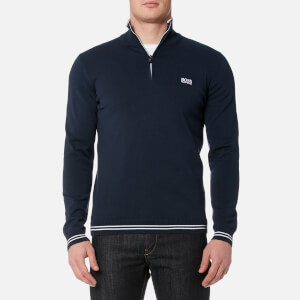 BOSS Green Men's Zime Quarter Zip Knitted Jumper - Navy