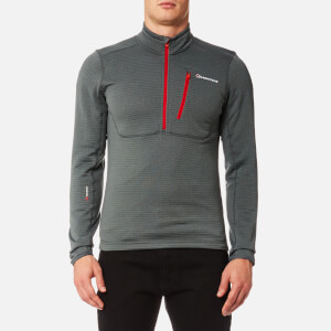 Montane Men's Power Up Pull On Fleece Jumper - Stratus Grey/Alpine Red
