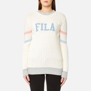 FILA Blackline Women's Toni Textured Knit Crew Neck Jumper - Ecru Heather Marl