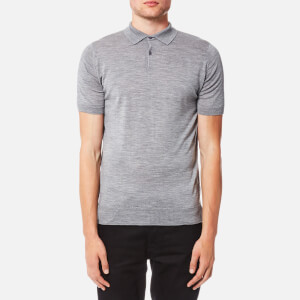 John Smedley Men's Payton 30 Gauge Merino Short Sleeve Polo Shirt - Silver