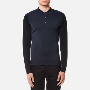 John Smedley Men's Brightgate 30 Gauge Merino Long Sleeve Polo Shirt - Summit Blue/Bardot Grey