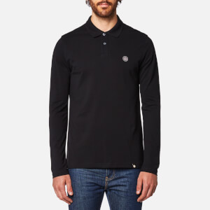 Pretty Green Men's Hartford Long Sleeve Polo Shirt - Black