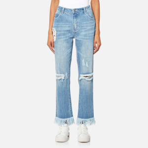 MINKPINK Women's Rough Night Cut Off Jeans - Light Vintage Blue