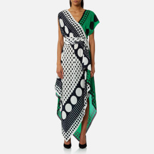 Diane von Furstenberg Women's Asymmetric Sleeve Scarf Dress - Brunel Navy/Evergreen