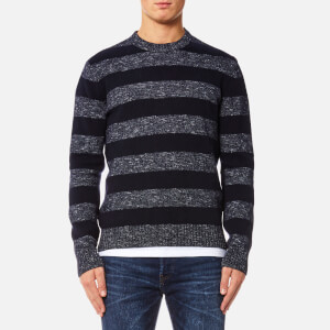 Edwin Men's Standard Stripes Sweater - Navy Flamme/Navy