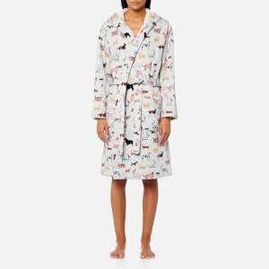 Joules Women's Idlewhile Fluffy Inner Dressing Gown - Grey Multi Dogs
