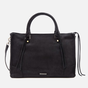 Rebecca Minkoff Women's Nubuck Regan Satchel Tote Bag - Black
