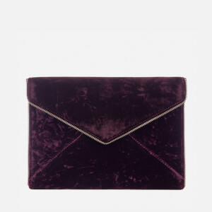 Rebecca Minkoff Women's Leo Velvet Clutch Bag - Dark Cherry