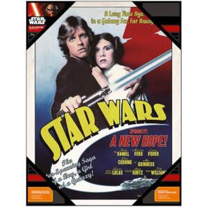 Affiche en Verre Star Wars Luke Skywalker et Princesse Leïa (30 x 40cm)